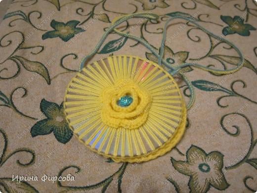 Летняя вязанная сумочка из СД - дисков плюс МК))) фото 20