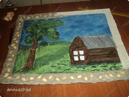 """Сделала картину в технике """"мокрая ткань""""по описанию  Ирины Рублёвой.Спасибо ей большое. фото 2"""