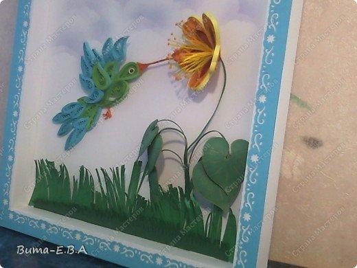 Приветствую всех, кто заглянул к нам в гости!  Представляю вам  работу моей дочери!   Маша схватывает все на лету, учится очень быстро..ей еще конечно не под силу сделать рамку,  и оформить картинку, но вот такую птичку и цветочек, она сделала сама... фото 5