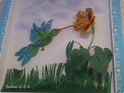 Приветствую всех, кто заглянул к нам в гости!  Представляю вам  работу моей дочери!   Маша схватывает все на лету, учится очень быстро..ей еще конечно не под силу сделать рамку,  и оформить картинку, но вот такую птичку и цветочек, она сделала сама... фото 1