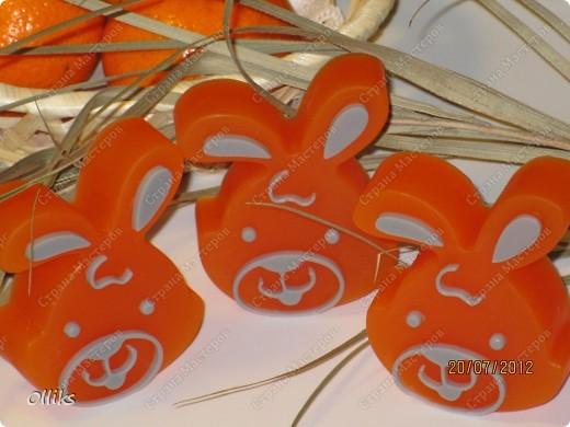 """Мыло """"Мандариновые зайчики"""" и """"Апельсиновые морковки"""". фото 2"""