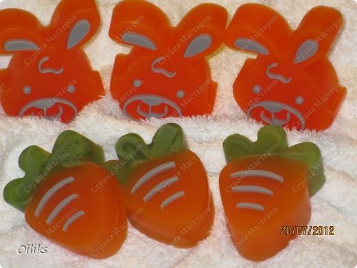 """Мыло """"Мандариновые зайчики"""" и """"Апельсиновые морковки"""". фото 1"""