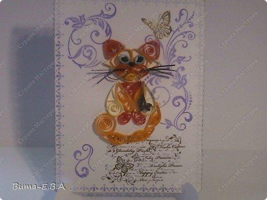 Вот еще одна открыточка оформленная и дыроколами и штампиками... котика сделала Маша...она его еще не делала ни разу, но все время хотела и рвалась сделать, но как то не было у неё на это время. Так что для неё это, большое достижение! фото 1