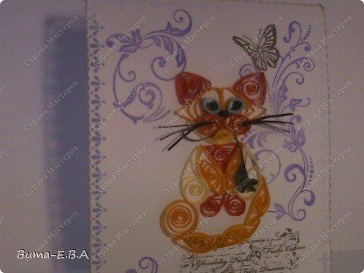 Вот еще одна открыточка оформленная и дыроколами и штампиками... котика сделала Маша...она его еще не делала ни разу, но все время хотела и рвалась сделать, но как то не было у неё на это время. Так что для неё это, большое достижение! фото 7