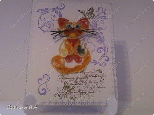 Вот еще одна открыточка оформленная и дыроколами и штампиками... котика сделала Маша...она его еще не делала ни разу, но все время хотела и рвалась сделать, но как то не было у неё на это время. Так что для неё это, большое достижение! фото 8