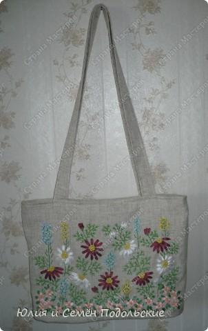 Вот моя льняная сумочка, вышитая лентами и мулине! фото 3