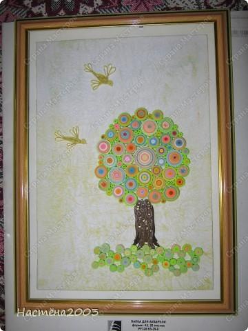 Понравились деревья Мастериц: Дерево любви http://stranamasterov.ru/node/344014?tid=587, Дерево радости http://stranamasterov.ru/node/139858, Упаковка денежного подарка и бонбонерки к юбилею http://stranamasterov.ru/node/305557 и решила, что тоже хочу сделать дерево, но не простое -  Сказочное. Рамку мама еще не углубляла, пока только примерка. Не судите строго, я только учусь. фото 7