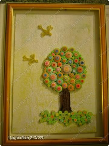 Понравились деревья Мастериц: Дерево любви http://stranamasterov.ru/node/344014?tid=587, Дерево радости http://stranamasterov.ru/node/139858, Упаковка денежного подарка и бонбонерки к юбилею http://stranamasterov.ru/node/305557 и решила, что тоже хочу сделать дерево, но не простое -  Сказочное. Рамку мама еще не углубляла, пока только примерка. Не судите строго, я только учусь. фото 1