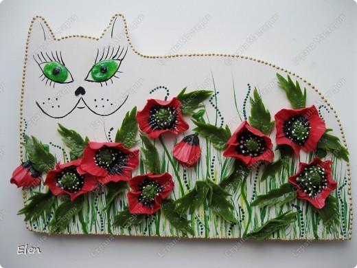 Кошка из гипса,цветочки хф фото 1