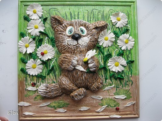 Кошка из гипса,цветочки хф фото 3