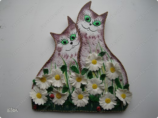 Кошки из гипса,ромашки холодный фарфор
