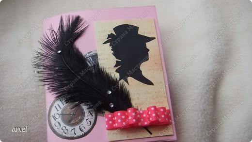 Для одной милой девушки сделала открытку,а заодно и брошку ,надеюсь ей понравиться. фото 1