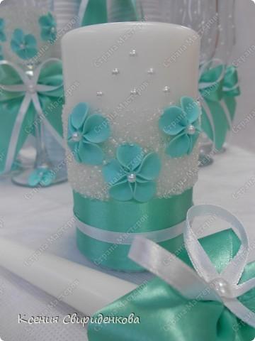 Недавно выполняла необычный заказ. Невеста пожелала набор в мятном цвете. Выношу на ваш суд то, что получилось. фото 3