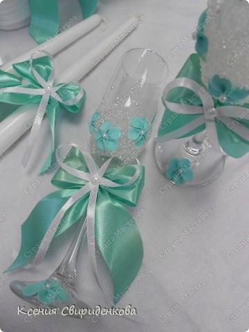Недавно выполняла необычный заказ. Невеста пожелала набор в мятном цвете. Выношу на ваш суд то, что получилось. фото 5