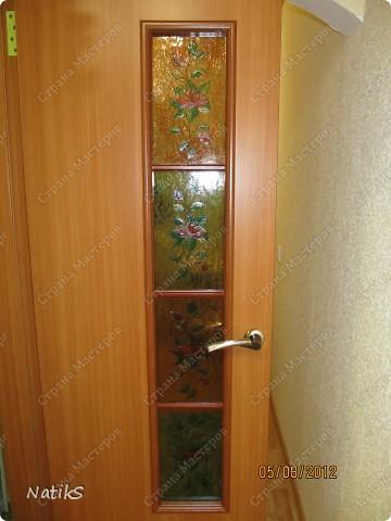 Вот примерно так, я решила дополнить дверь со стеклянными вставками. Роспись витражными красками. фото 3