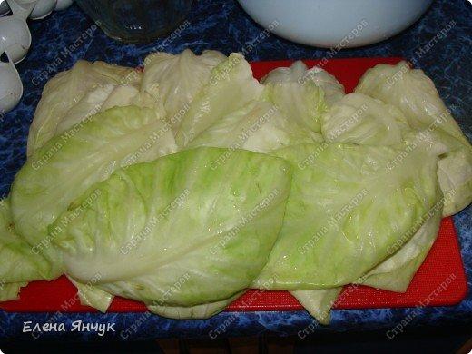Пока варится рис подготавливаем капусту. Я это делаю в микроволновке - очень легко отделяются. фото 1