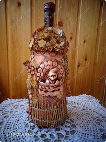 Мастер-класс Поделка изделие Лепка Домик гномика тесто соленое+деревянные розочки Бутылки стеклянные Материал природный Тесто соленое фото 1