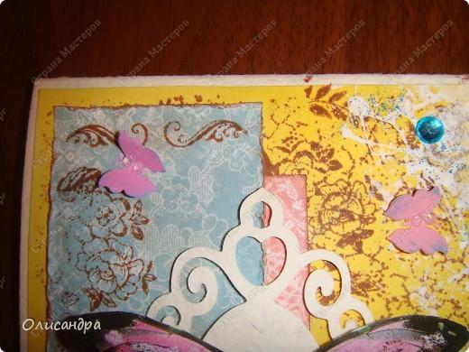 """Здравствуйте, мои дорогие! Сегодня я опять с бабочками. Продолжаю """"мучить скрап"""", и мне все больше и больше нравится это занятие. Наверно, пока не закончатся все бабочки на моей скраповой бумаге, так и будут летать на новых открытках...  фото 12"""