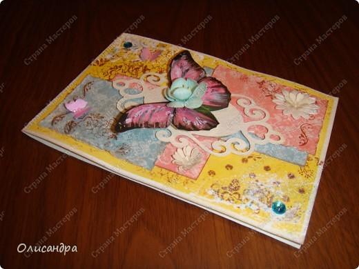 """Здравствуйте, мои дорогие! Сегодня я опять с бабочками. Продолжаю """"мучить скрап"""", и мне все больше и больше нравится это занятие. Наверно, пока не закончатся все бабочки на моей скраповой бумаге, так и будут летать на новых открытках...  фото 15"""