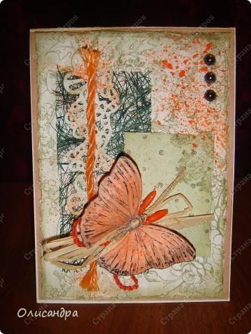 """Здравствуйте, мои дорогие! Сегодня я опять с бабочками. Продолжаю """"мучить скрап"""", и мне все больше и больше нравится это занятие. Наверно, пока не закончатся все бабочки на моей скраповой бумаге, так и будут летать на новых открытках...  фото 3"""