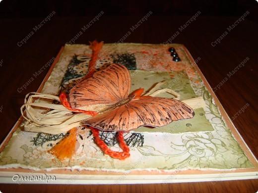 """Здравствуйте, мои дорогие! Сегодня я опять с бабочками. Продолжаю """"мучить скрап"""", и мне все больше и больше нравится это занятие. Наверно, пока не закончатся все бабочки на моей скраповой бумаге, так и будут летать на новых открытках...  фото 7"""