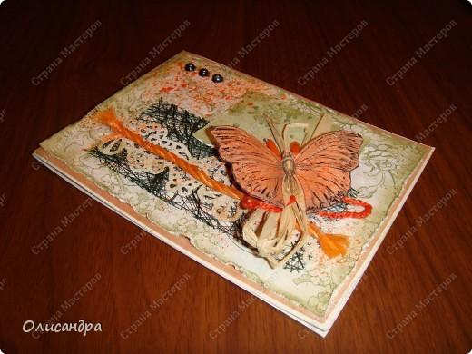 """Здравствуйте, мои дорогие! Сегодня я опять с бабочками. Продолжаю """"мучить скрап"""", и мне все больше и больше нравится это занятие. Наверно, пока не закончатся все бабочки на моей скраповой бумаге, так и будут летать на новых открытках...  фото 8"""