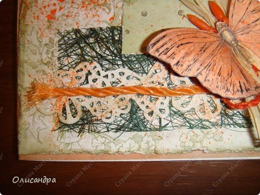 """Здравствуйте, мои дорогие! Сегодня я опять с бабочками. Продолжаю """"мучить скрап"""", и мне все больше и больше нравится это занятие. Наверно, пока не закончатся все бабочки на моей скраповой бумаге, так и будут летать на новых открытках...  фото 4"""