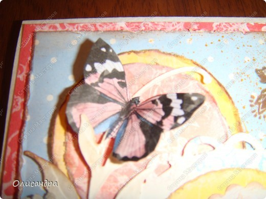 """Здравствуйте, мои дорогие! Сегодня я опять с бабочками. Продолжаю """"мучить скрап"""", и мне все больше и больше нравится это занятие. Наверно, пока не закончатся все бабочки на моей скраповой бумаге, так и будут летать на новых открытках...  фото 18"""