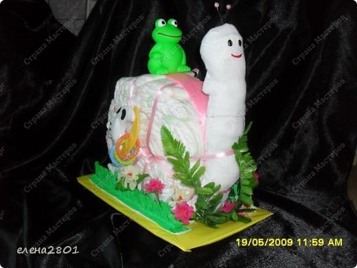 Здравствуйте дорогие мастерицы! На просторах интернета очень много фото с тортами из памперсов,просмотрев которые ,мне тоже захотелось их сделать. Что из этого получилось,судить вам......... Улитка.... фото 3