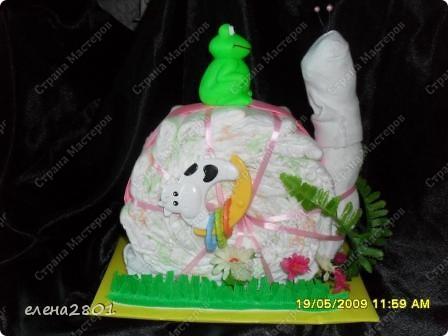 Здравствуйте дорогие мастерицы! На просторах интернета очень много фото с тортами из памперсов,просмотрев которые ,мне тоже захотелось их сделать. Что из этого получилось,судить вам......... Улитка.... фото 4