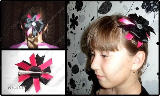 Мои первые пробы пера... в роли модели, моя младшая сестренка.  почти все украшения ушли ей)) Заколочка фото 1