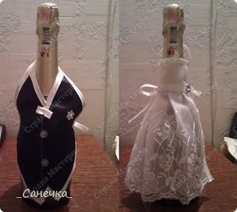 """Наряды для бутылок, так же подарок на свадьбу для двоюродной сестры. Тоже мой первый опыт в этом """"нелегком"""" деле )))))"""