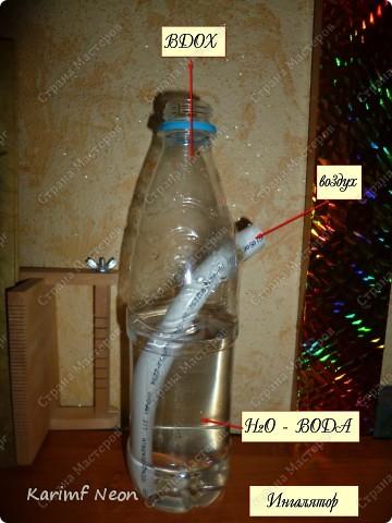 Уже несколько месяцев  Я не пользуюсь ингалятором от астмы, благодаря этому устройству. Мои друзья тоже попробовали дышать через этот ингалятор и отметили, что дышать становится намного легче. У подруги сняли кашель за одно применение. УСТРОЙСТВО проще некуда. В бутылку проделал дырочку и вставил трубку. Все щели заклеил скотчем. Дальше наливаем теплую воду. Через горлышко бутылки делаем длительный (7-10 секунд) ВДОХ. (лучше заткнуть нос при этом). Воздух проходя через воду - ОЧИЩАЕТСЯ. Теплая вода делает хорошую ингаляцию. Можно добавить эфирные масла, но я сам, пока этого не делал. Я снимаю приступы астмы за 5 минут. Я безумно доволен этим устройством. Наконец-то химический ингалятор лежит на полке.!  фото 1