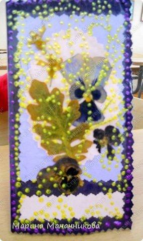 Картина из сухих листьев и цветов своими