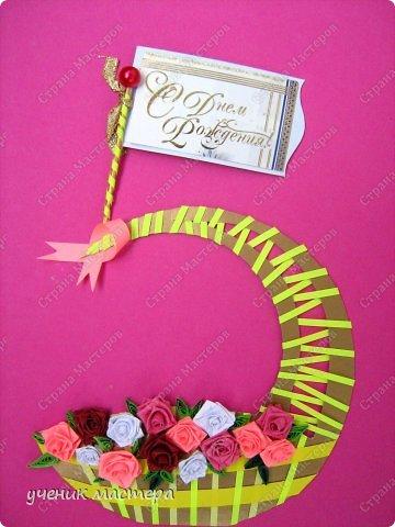 """Подарок """"два в одном"""": и пятерочка, и корзина с розами.  фото 2"""