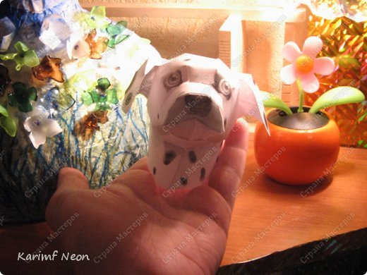 Я решил, что перед моим камином должна сидеть собака.  На моём любимом сайте Canon, скачал, такого вот далматинца. На сайте все животные маленькие. С помощью спец. программки увеличил изображение. И вот теперь, у меня большая собака (77 см).  фото 5