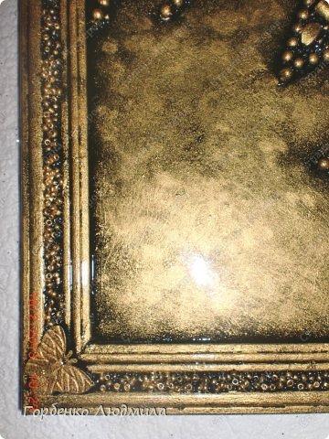 Картина панно рисунок 8 марта Аппликация Бабочка на цветке Бисер Бусинки Клей Пуговицы фото 7.