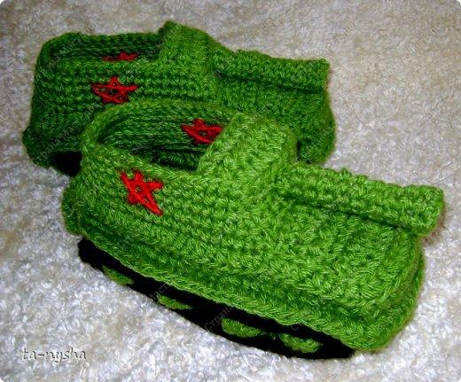 Вязание - Тапки-танки вязаные.