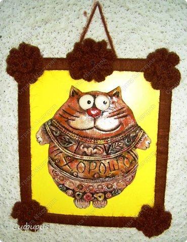 Картина панно рисунок Поделка изделие Вязание крючком Лепка Коты хорошего настроения Картон Ленты Пряжа Тесто соленое фото 6