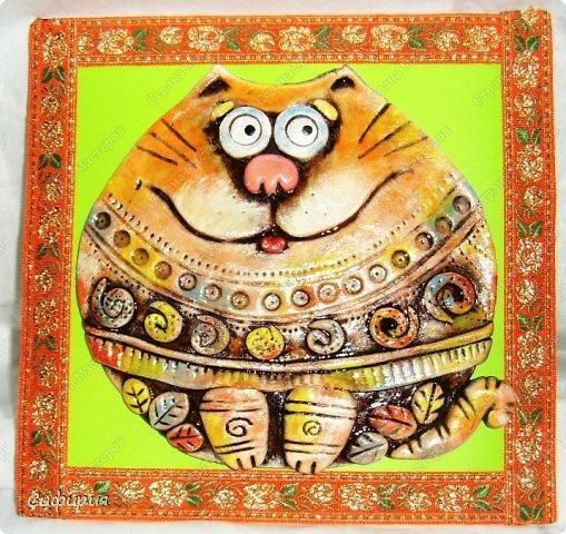 Картина панно рисунок Поделка изделие Вязание крючком Лепка Коты хорошего настроения Картон Ленты Пряжа Тесто соленое фото 2
