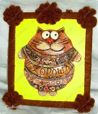 Картина панно рисунок Поделка изделие Вязание крючком Лепка Коты хорошего настроения Картон Ленты Пряжа Тесто соленое фото 5