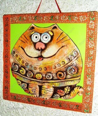 Картина панно рисунок Поделка изделие Вязание крючком Лепка Коты хорошего настроения Картон Ленты Пряжа Тесто соленое фото 3