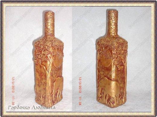 Декор предметов Поделка изделие Аппликация Лепка Бутылка Саванна Бисер Бутылки стеклянные Скорлупа яичная Тесто соленое фото 2