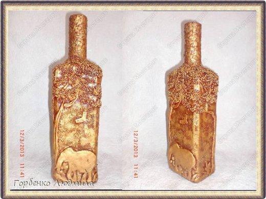 Декор предметов Поделка изделие Аппликация Лепка Бутылка Саванна Бисер Бутылки стеклянные Скорлупа яичная Тесто соленое фото 5