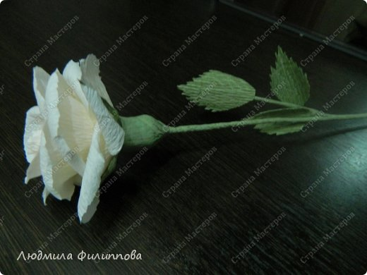Добрый день дорогие мастерицы! Хочу поделиться с Вами своим способом изготовления роз из гофрированной бумаги. Америку я не открыла, в Стране много подобных МК, но у каждого, в том числе и у меня,  своя технология. Может кому-нибудь пригодится мой МК. фото 59