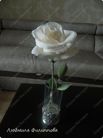 Добрый день дорогие мастерицы! Хочу поделиться с Вами своим способом изготовления роз из гофрированной бумаги. Америку я не открыла, в Стране много подобных МК, но у каждого, в том числе и у меня,  своя технология. Может кому-нибудь пригодится мой МК. фото 63