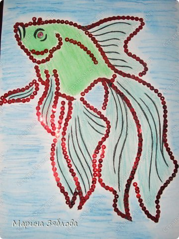 Что-то нам с Анютой  очень нравятся рыбки . А еще у  нашего деда скоро день рождение , по знаку зодиака он рыбка . Потом одну из наших рыбок подарим как открытку . фото 2