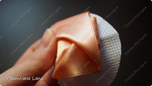 Мастер-класс Моделирование Шитьё Мастер класс Роза из ленты Канва Ленты фото 11