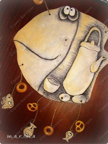 Картина панно рисунок День рождения Лепка ЯпонаМатрёна Краска Продукты пищевые Тесто соленое Шпагат фото 1