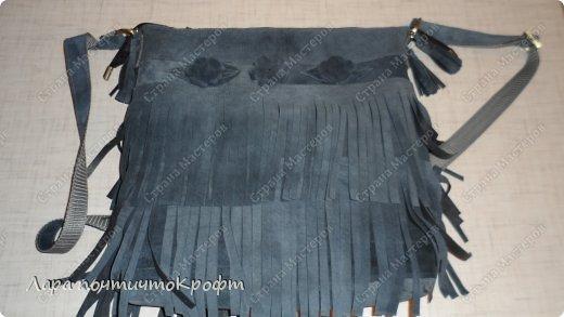 Поделка изделие Шитьё Кожаные сумочки с бахромой Кожа Ленты Ткань фото 10.